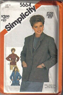 Simplicity 5664 Misses Unlined Jackets Size 12 Sewing Pattern UNCUT