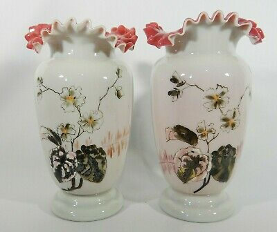 Antique Victorian Pair of Hand Painted Glass Vases Flower Frilly Top Pink Red