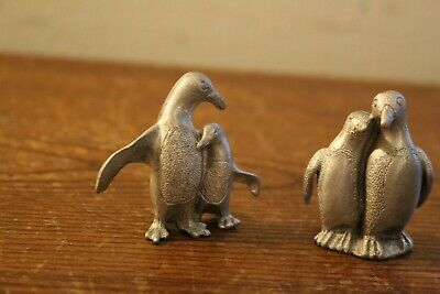 Two Pairs of Small Pewter Penguins