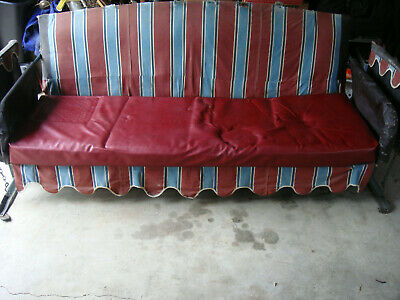 Antique Porch Glider Sofa Size Swing Orig 6' Red Cushion Covers Vtg Green Steel