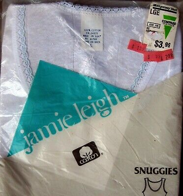 Vtg Jamie Leigh Montgomery Ward Snuggles Lace Trim Camisole Cotton Blue Eyelet