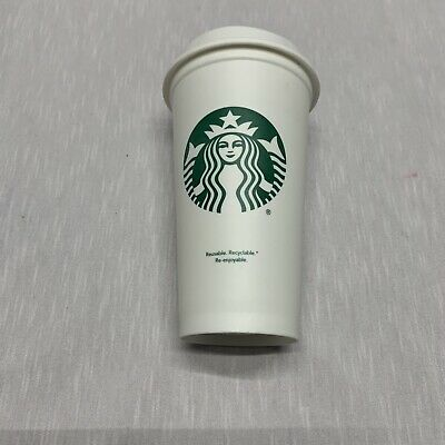 New Starbucks Reusable Cup - White Plastic Travel To Go Coffee Grande Size 16 Oz