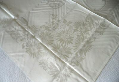 Unused Vintage 60'S Pale Ivory Cotton Rayon Damask Table Cloth Chrysanthemums