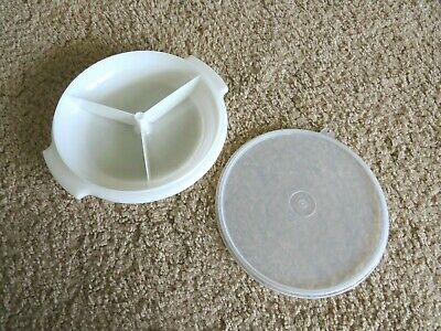 Tupperware slim divided round lunch dish 808-18  container seal cover 228-12 Vtg