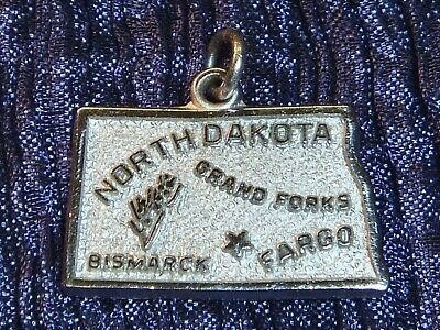 NORTH DAKOTA State Map Vintage Sterling Silver Charm