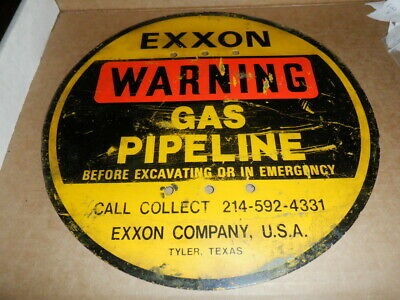 Exxon Pipeline Metal Sign Gas Gasoline Oil Orig Pipe Line Esso Standard Humble
