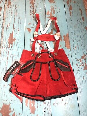 Edel Heiss Leiderhoisn Red Leather 92  (US Size2?) Octoberfest NWT Children's