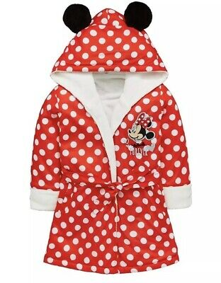 Age 2-3 Years New Girls Minnie Mouse Fleece Lined Robe Red Dressing Gown