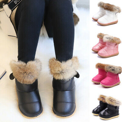 Kids Toddler Girls Winter Warm Fur Snow Boots Flats Slip On Comfy Shoes Size