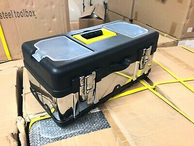 """Stainless Steel Heavy Duty 16"""" Inch Chrome Tool Box Toolbox Storage Case Tray"""