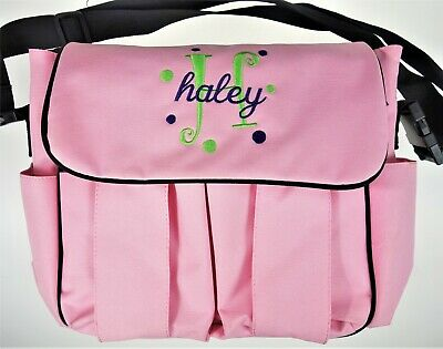 """Haley"" Personalized Embroidery Pink  Messenger School Diaper Bag Precious Cargo"