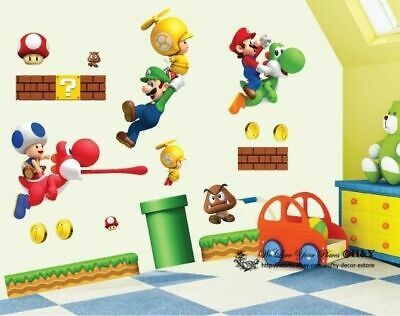 Super Mario Kids Nursery Removable Wall Decal Vinyl Stickers Art Home Decor