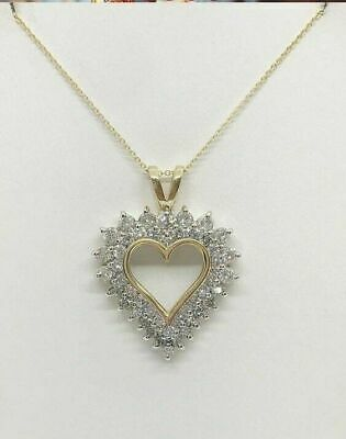 """2 Ct Diamond Double Halo Heart Shaped Pendant 18"""" Necklace 14K Yellow Gold Over"""