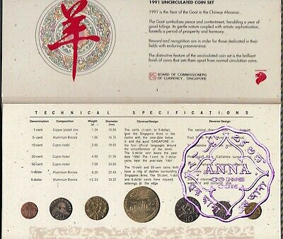 Singapore 1991 Uncirculated Mint Set, 7 Coins