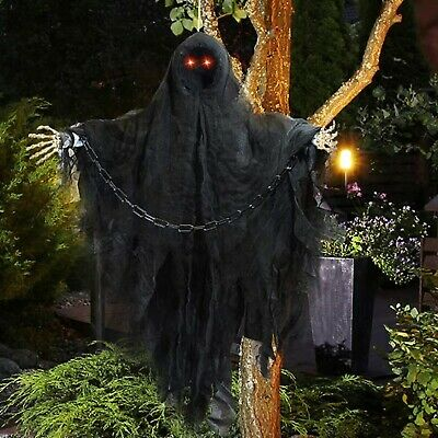 Animated Hanging Grim Reaper Yard Prop Faceless Scary Halloween Decoration 36""