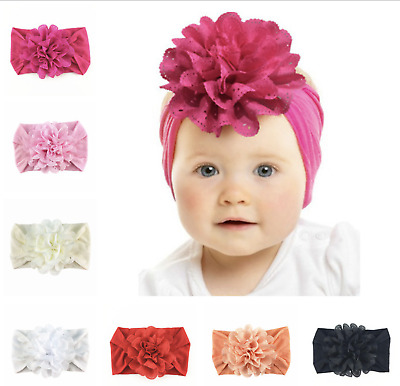Newborn Baby Girls Lace Flower Headband SoftBow Hairband Baby Headdress Headwear