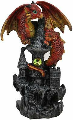 """Ebros Fire Dragon Wyrmling Perching On Castle Tower Top Statue with Gem 5.25""""H"""