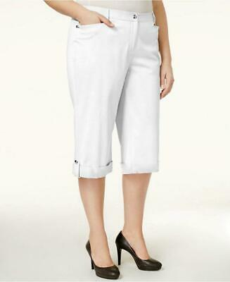 JM Collection Plus 24W Capri Pants White Embellished Cuffed Comfort Waist NWT