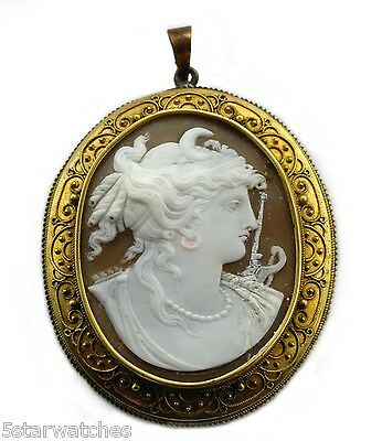 Antique 1800s Early Victorian  Large 18k Gold BYZANTINE Revival Cameo Brooch