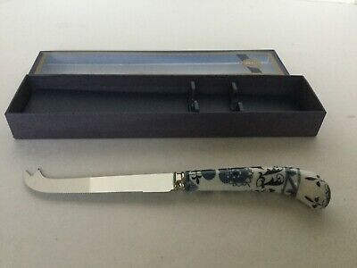 HOUSE OF PRILL SHEFFIELD England Blue Onion Porcelain Handle Cheese Knife 8-3/8""