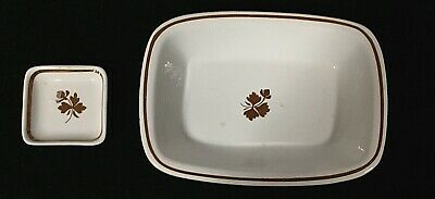 2 Antique Pieces Of English Tea Leaf Dinner Wear - Serving Dish And A Butter Pat
