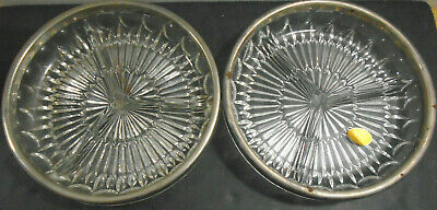 Vintage Leonard Italy Crystal Glass Silver Plate Divided Relish Dish Lot Of 2