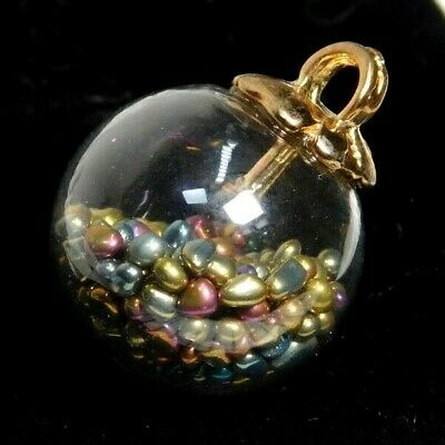 COLLECTIBLE Clear Glass Charmstring BUTTON Full of Tiny Colorful Beads  11/16