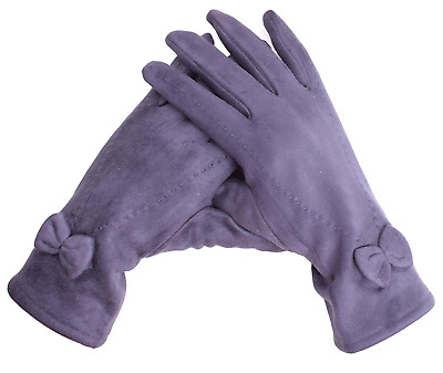Shark Tooth Women's Winter Gloves Touch Screen Suede Leather with Bow Navy