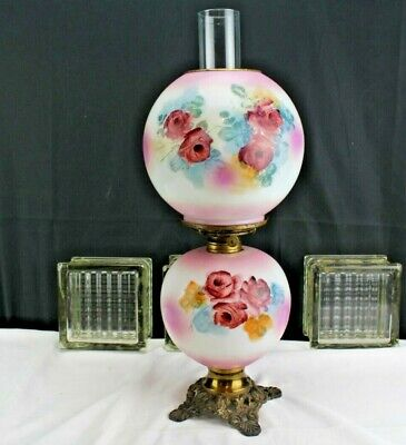 Antique GWTW Oil Lamp Pink and White With Roses 1909-1920 Home Lighting