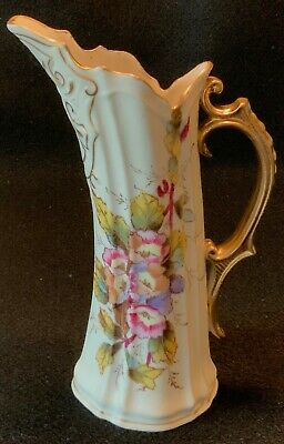 Antique 19th c. Victoria CARLSBAD Hand Painted Porcelain Syrup or Milk Pitcher