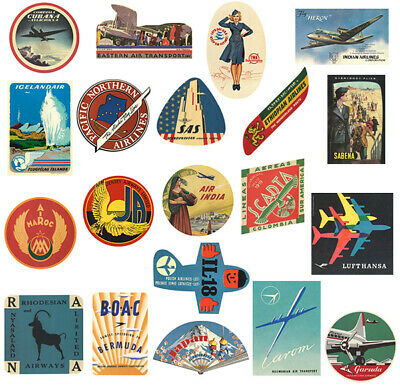 Vintage travel labels weatherproof retro aviation luggage decals all 20 included