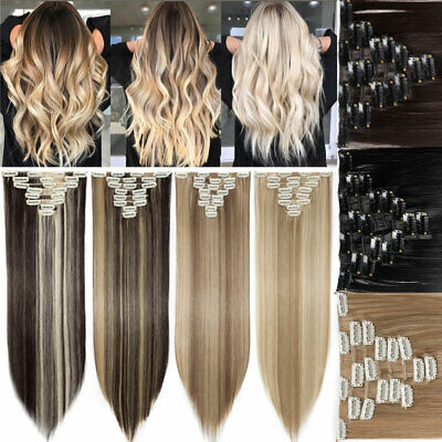 UK Women 8pcs Full Head Clip in 100% Natural Hair Extensions as Human Long Thick