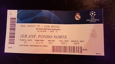 Collectors Ticket Real Madrid - Club Brugge  Champions  League 19/20