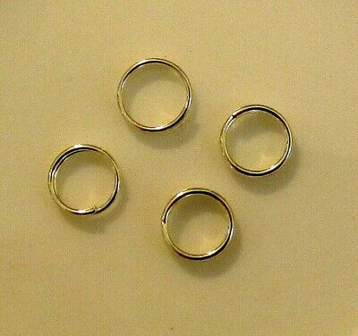 Split ring, silver-finished steel, 8mm round x 20