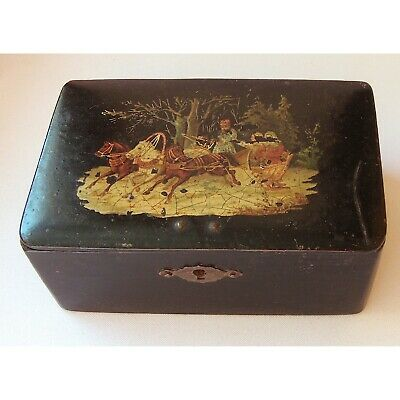 Antique Lacquer Box Russian Troika 19th century Papier-mache Hand-painted  Rary