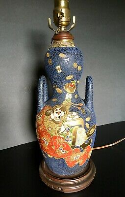 Antique Japanese Satsuma Pottery Vase Lamp - Colorful Red Blue Gold Asian