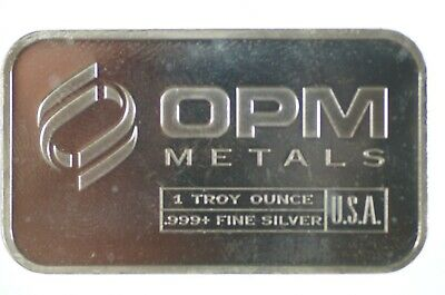 OPM Metals One Troy Ounce .999+ Fine Silver Minted Bullion Bar