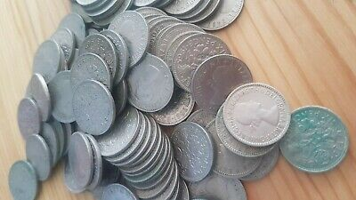 100 SIXPENCE Coins - Mixed Condition & Mixed Years - 6d Lucky Wedding Gift