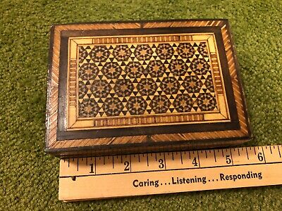 Antique Parquetry Inlaid Wooden Lined Flip-Lid  Box