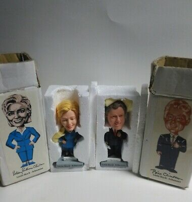 Bill & Hillary Clinton Little Rock Arkansas Bobblehead Set New In Box Rare 6.5""