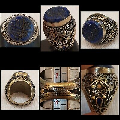 Wonderful Old Lapis lazuli Stone Islamic Calligraphy Intaglio Old Silver Ring
