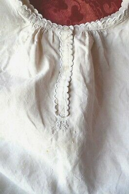 Antique French pure linen hand made and embroidered shift, chemise JR monogram
