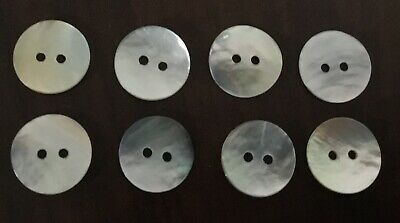 Lot of 8 Vintage Two Holes Mother of Pearl Shell Buttons MOP Sewing Craft