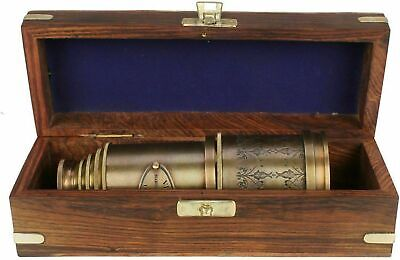 "Marine Telescope Nautical Antique Solid Brass Maritime Pirate Spyglass 20"" box"