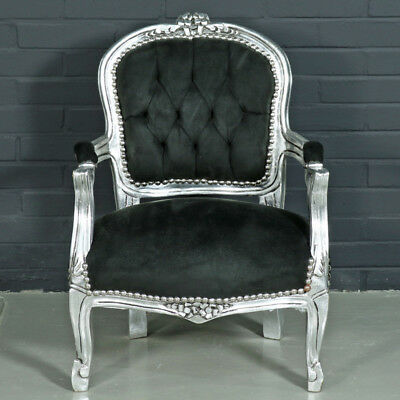 Children Baroque Style Chair Silver / Black  # F11Mb45