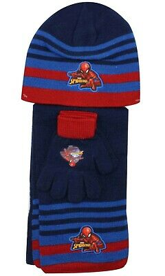 Boys Official Winter Marvel Spiderman Hat Gloves and Scarf Set 3 PCs Set Age 4-7