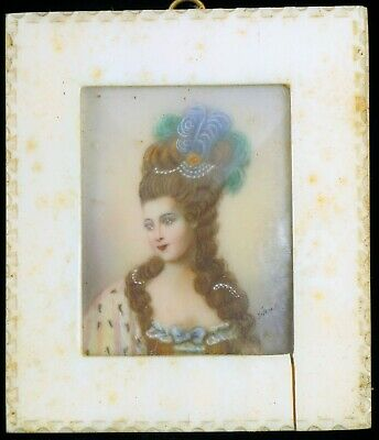Antique Hand Painted Miniature Exquisite Painting Victorian Woman Queen Signed