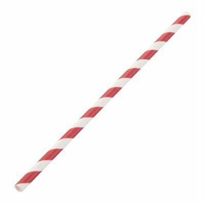 Fiesta Green Compostable Paper Straws Red Stripes (Pack of 250) DE927 [0250]