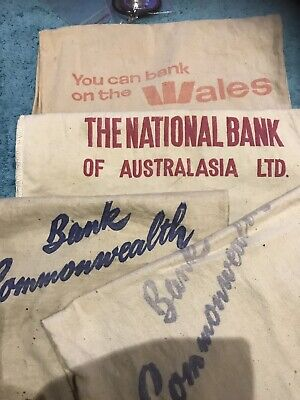 Cloth Money Bags X 4 -commonwealth NAB And Wales Banks