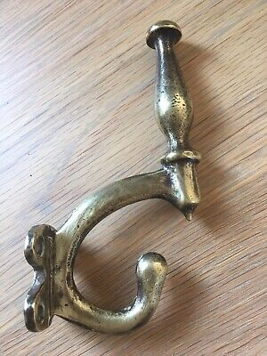 Antique Coat Hook Brass Vintage Victorian Original Old Reclaimed Heavy Quality